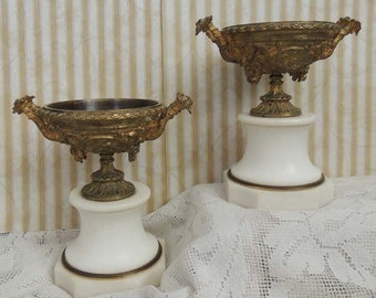 Ornate Pair of Antique French Marble and Bronze Urns with Grapes and Cherubs / Mantle Urns / French Urns / Cherubs / Marble Urns