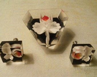 Orchids Encased in Lucite - Beautiful Brooch and Earring Set - Ballerina Flowers with a Modern Feel