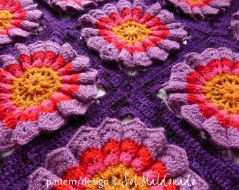 Crochet Blanket pattern granny square Flower Power  - granny chic crochet floral blankie - Instant DOWNLOAD