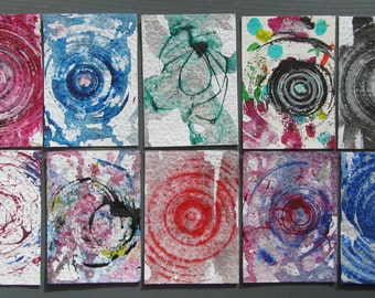10 Aceo Original Abstract Paintings, Artist Michael Francis Brown. Art Cards, ATC, Colorful