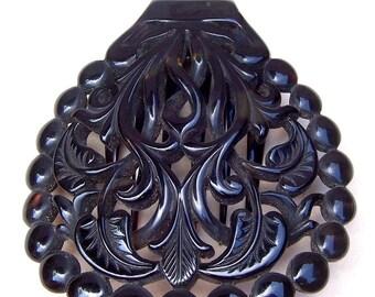Victorian Hair Comb Circular Carved Tortoiseshell Effect Hair Accessory Hair Slide Hair Pin Hair Pick Headdress