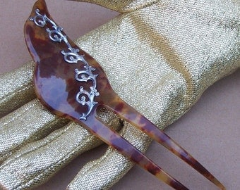 Vintage Hair Comb Faux Tortoiseshell Leaf Shape Hair Slide Hair Pin Hair Pick Headdress Hair Jewelry Hair Ornament