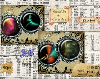 Fractal Art + Cave Art - Digital Collage Sheets - 1.5 inch Circles for Jewelry Supplies, Makers, Magnets, Arts & Crafts