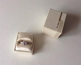 Vintage 1940s Geometric Ring Box - Art Deco 1930s - Wedding Engagement Proposal