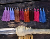 "Marrakech Art Silk Tassels from India, Rich Spice Colors, Jewelry Making Tassels, Craft Supplies, 2"", 16 tassels. Spring Trend, Pink, Purple"
