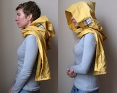 Hoodscarf - gold yellow cotton hood with attached scarf and flannel plaid pockets