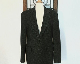 Mens Sport Coat Vintage Black Wool Jacket - L / XL