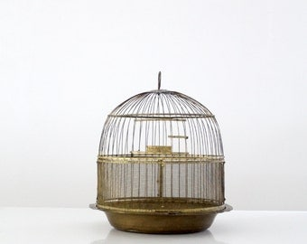 FREE SHIP  antique Hendryx brass bird cage, decorative birdcage