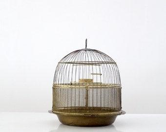 antique Hendryx brass bird cage, decorative birdcage
