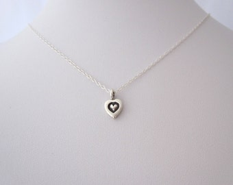97% solid sterling silver small HEART charm necklace, delicate everyday necklace