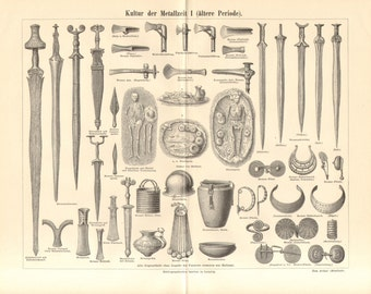 1890 Weapons, Tools and Jewellery of Iron Age and Bronze Age Antique Engraving Print