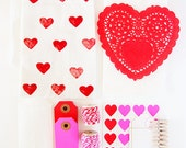 SAVE 30% - Red & Pink Valentine Gift Packaging kit  - Ships F R E E - Heart Stickers, Glassine Bags, Twine, Makes 20 packages