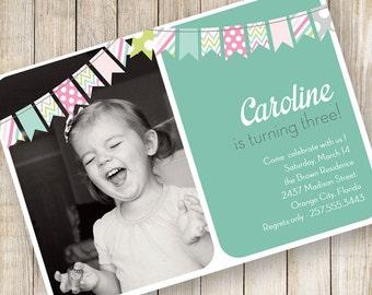 Birthday Invitation, Fifth Birthday Invitation, Girl Birthday Invitation, bunting invitation