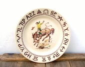 Vintage Wallace China Rodeo Plate 7 in Till Goodan Westward Ho 1940s Cowboy Dinnerware
