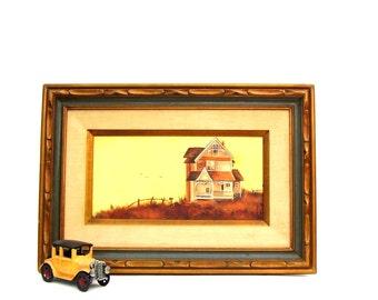 Vintage Oil Painting Yellow Farmhouse Original Signed Wall Art Mid century Artist Lillian Burdine