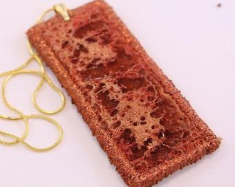 fiber pendant embroidered vurnt orange copper rust gold necklace textured necklace embroidered unique costume jewelry textile art
