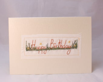 Embroidered Happy Birthday Card garden flowers floral pastel coral tulips garden art card handwriting font pearlescent card