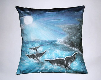 Children's Fairy Tale Pillow Cover - A Whale's Journey