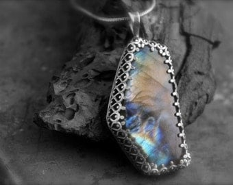 Labradorite Stone set in Etched Sterling Silver-Pendant