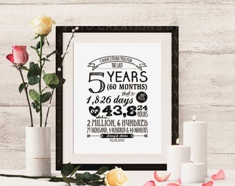 """Professional Print - Personalized Typography anniversary gift print with names and date """"I Have Loved You For"""" - 8x10 - Hardcopy Print"""