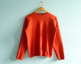 Vintage orange sweater top pullover / casual / fall winter / long sleeves / scoop neck / medium