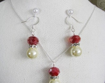 Great Bridesmaids gifts Rhinestones and Ivory Cream Swarovski Pearls With Holiday Ruby Swarovski Crystals on Silver Plated Chain Necklace