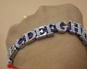 Clearance-From A to Z--130 pcs rhinestone letters-fit throuth  8mm wristbands-F1218-five whole sets