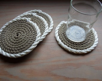 Set of 4 Rope Coasters Nautical Decor Natural with White Trim Beautiful Christmas STOCKING STUFFERS