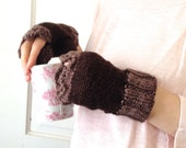 100% Organic Cotton Women's Fingerless Mittens, Two Tone Brown, Lace, Vegan Friendly