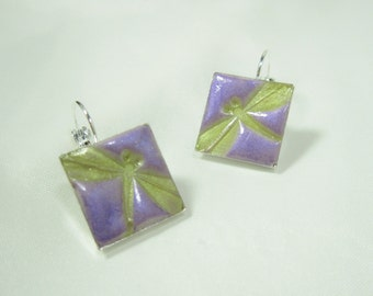 Dragonfly Iridescent Purple & Green Polymer Clay Square Silver Earrings