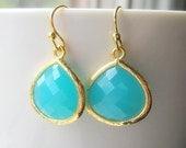 Mint Aqua Drop Earrings / Sea Glass Dangle Teardrop / Bridesmaids / Wedding / 14K Gold Filled Wire / Beach Wedding