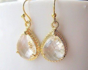 Crystal Clear Gold Teardrop Earrings / Crystal Drop Earrings / Glass Dangle / Bridesmaids / Wedding / 14K Gold Filled Wire / White Topaz