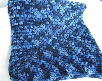 Crochet granny square afghan / blanket - denim ombre - soft & bulky acrylic yarn