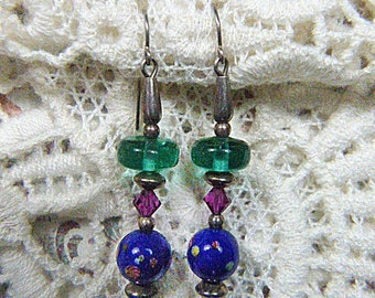 Vintage Purple, Blue and Green Bead Pierced Earrings - V-EAR-141 - Multicolor Bead Earrings