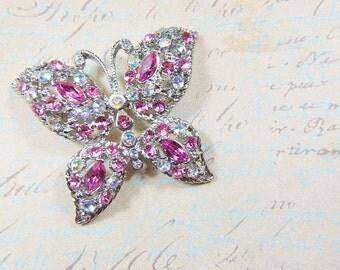 Vintage Pink Rhinestone Butterfly Brooch - BUT-113 - Pink Butterfly Brooch - Rhinestone Brooch - Pink Butterfly Rhinestone Brooch