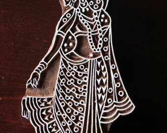 Hand Carved Indian Wood Textile Stamp Block- Ancient Indian Woman