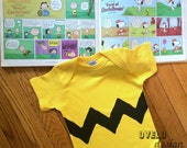 Charlie Brown Bodysuit with Squiggly Zig Zag Printed on FRONT Side Only