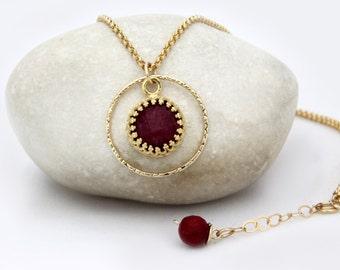 SALE - Ruby necklace,July birthstone necklace,gold necklace,ring necklace,gemstone necklace,Ruby pendant necklace