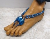 Electric blue soleless sandals made with dyed brown hemp.  Adult size  Bellydance, beach barefoot fashion!  HFT-307