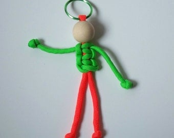 Paracord Person Key Fob, Lime Green and Orange, Geocaching Swag, Fun Key Fob