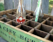 Wooden Soda Crate, Green Nevada City California, Vintage Bottling Co. circa 1940's 1950's
