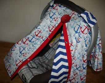 Carseat Canopy Nautical Anchor Chevron Cover REVERSIBLE
