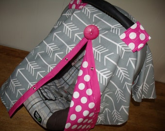 Carseat Cover Grey Arrow with Hot Dot READY TO SHIP