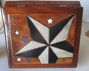 Vintage Decorated Wooden Cigar Box With Texas Star