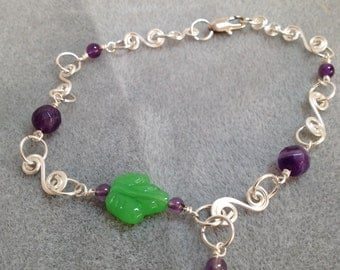 Amethyst and czech leaf anklet