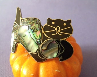 1970s Mexican Alpaca Cat Pin/ Abalone and Onyx Brooch
