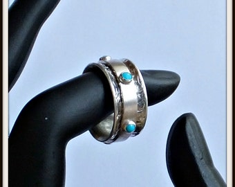 OOAK Meditation spinner fidget  ring sterling silver natural turquoise cabochon .Your size