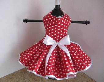 Dog Dress  Red with White Stars