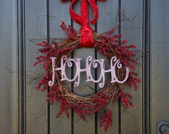 "Christmas Wreath Winter Wreath Holiday Door Wreath Decor..""HoHoHo"" Red Berry Branches Wispy Fun Wild Red Ribbon Bow Indoor Outdoor Decor"