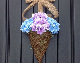 Spring Wreath Summer Grapevine Door Basket Wreath Wall Pocket Decor Hydrangeas Purple Blue Hydrangea Basket